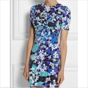 NWT Peter Pilotto Blue Floral Bodycon Dress Jersey